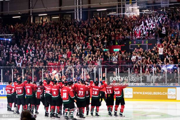 Players of the Frolunda Gothenburg celebrates with fans after winning the Champions Hockey League Final between Frolunda Gothenburg and Sparta Prague...