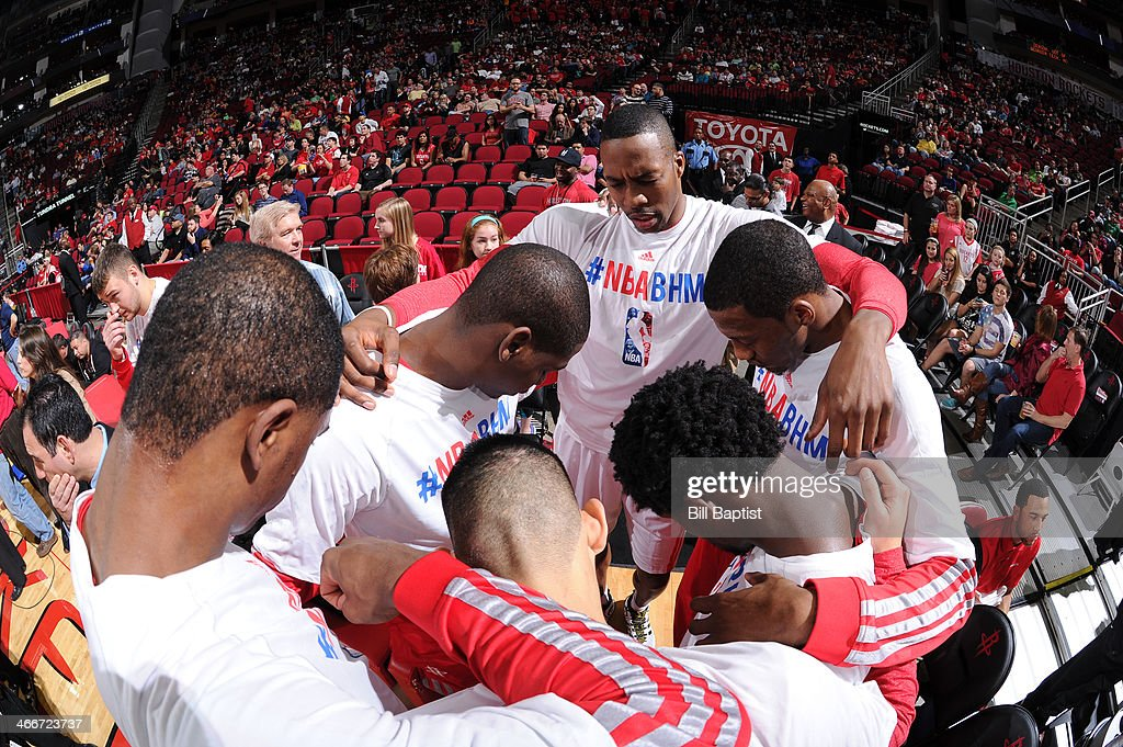 Players of the Houston Rockets huddle before the game against the Cleveland Cavaliers on February 1, 2014 at the Toyota Center in Houston, Texas.