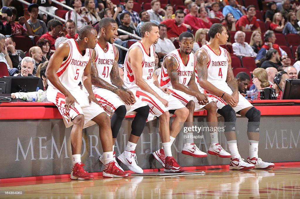 Players of the Houston Rockets wait to enter the game against the Cleveland Cavaliers on March 22, 2013 at the Toyota Center in Houston, Texas.