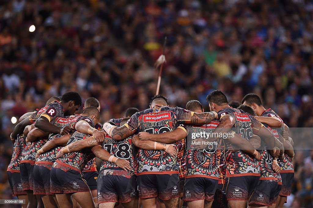 Players of the Indigenous All Stars huddle during the NRL match between the Indigenous All-Stars and the World All-Stars at Suncorp Stadium on February 13, 2016 in Brisbane, Australia.