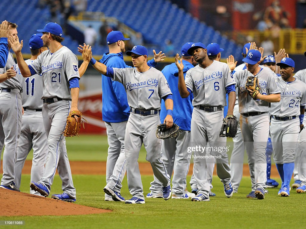 Players of the Kansas City Royals celebrate a 10 - 1 victory against the Tampa Bay Rays June 13, 2013 at Tropicana Field in St. Petersburg, Florida.