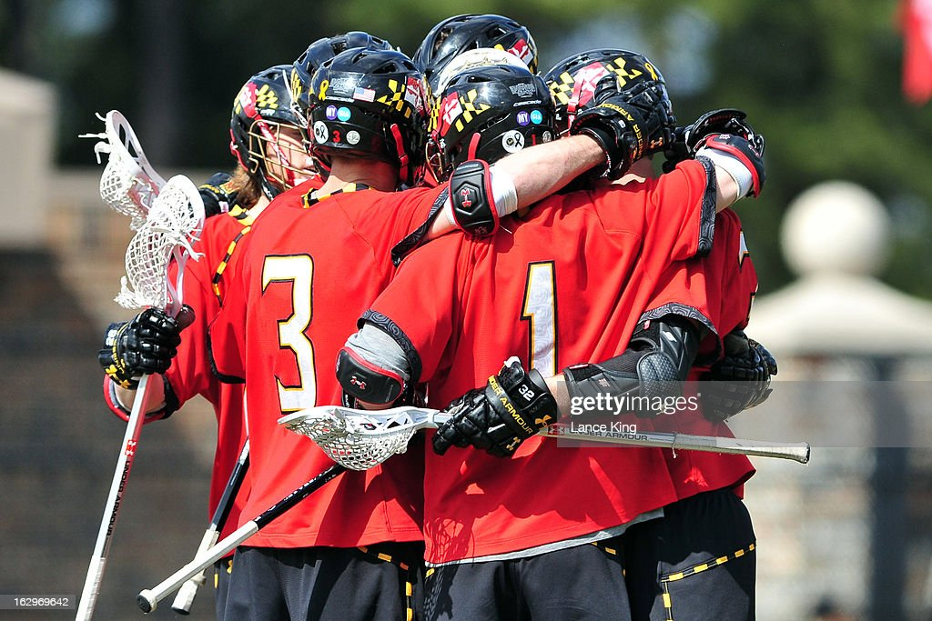 Players of the Maryland Terrapins celebrate following a goal by Jay Carlson #32 during a game against the Duke Blue Devils at Koskinen Stadium on March 2, 2013 in Durham, North Carolina. Maryland defeated Duke 16-7.