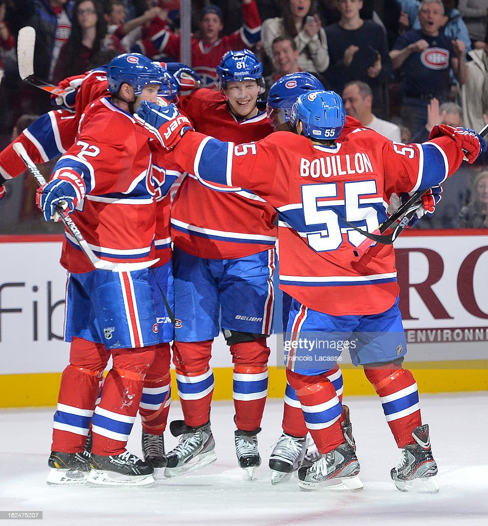 Players of the Montreal Canadiens celebrate <a gi-track='captionPersonalityLinkClicked' href=/galleries/search?phrase=Lars+Eller&family=editorial&specificpeople=4324947 ng-click='$event.stopPropagation()'>Lars Eller</a> #81goal during the NHL game against the New York Rangers on February 23, 2013 at the Bell Centre in Montreal, Quebec, Canada.