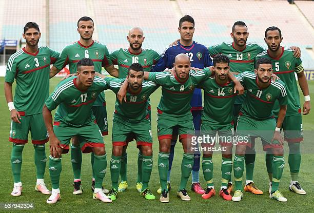 Players of the Morocco's national football team pose prior to the qualifying tournament for the Africa Nations Championship Gabon 2017 football match...