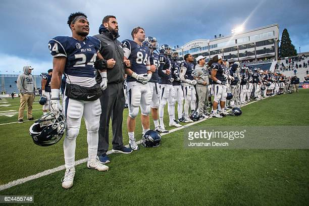 Players of the Nevada Wolf Pack celebrate after the win over the Utah State Aggies at Mackay Stadium on November 19 2016 in Reno Nevada