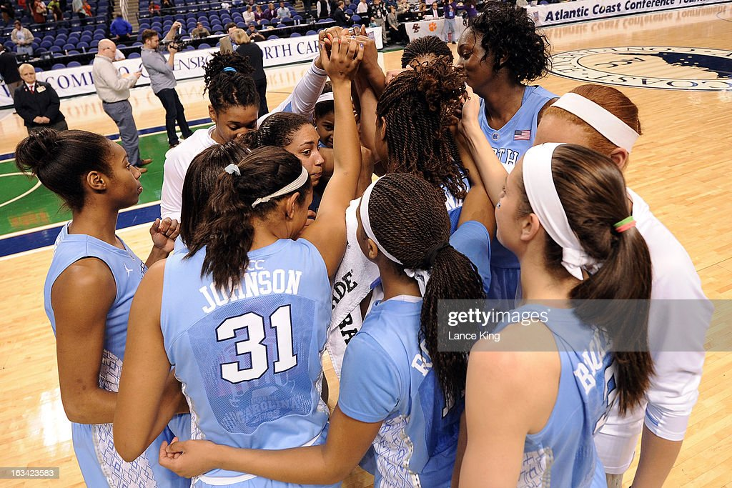 Players of the North Carolina Tar Heels celebrate following their 72-65 victory against the Maryland Terrapins during the semifinals of the 2013 Women's ACC Tournament at the Greensboro Coliseum on March 9, 2013 in Greensboro, North Carolina.