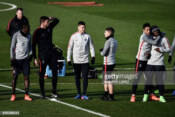Players of the Paris SaintGermain's football club attend a training session on February 13 2017 in SaintGermainenLaye west of Paris on the eve of the...