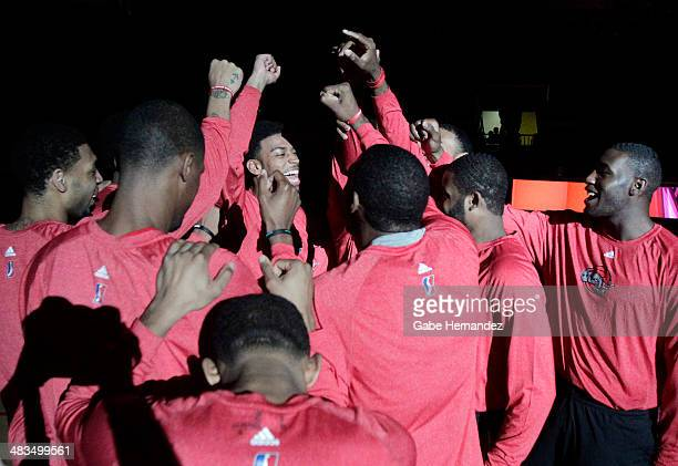 Players of the Rio Grande Valley Vipers celebrate before playing against the Iowa Energy on April 8 2014 during game one first round of the 2014...