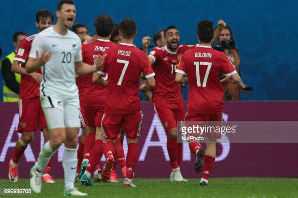 Players of the Russian national football team celebrates after scoring goal during the 2017 FIFA Confederations Cup match first stage Group A between...