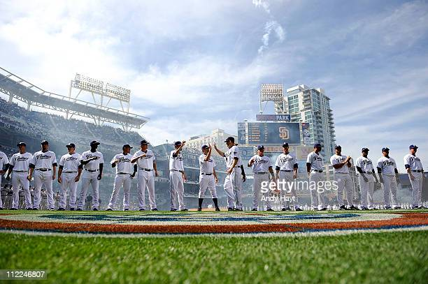 Players of the San Diego Padres participate in the opening day pre game lineup prior to the game against the San Francisco Giants on Tuesday April 5...