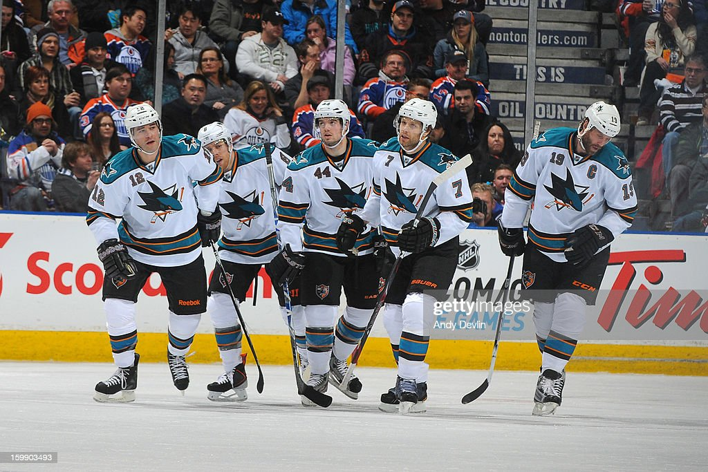 Players of the San Jose Sharks celebrate after a first period goal against the Edmonton Oilers at Rexall Place on January 22, 2013 in Edmonton, Alberta, Canada.