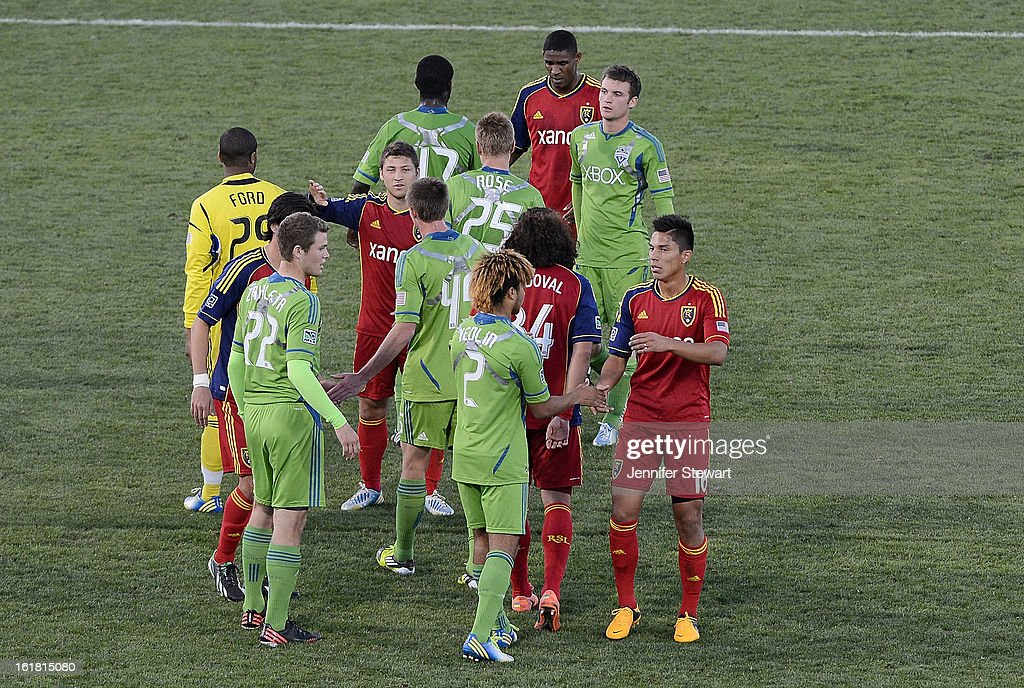 Players of the Seattle Sounders congratulate players of Real Salt Lake after the FC Tucson Desert Diamond Cup at Kino Sports Complex on February 16, 2013 in Tucson, Arizona. Seattle Sounders defeated Real Salt Lake 2-1.