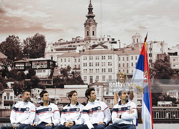 Players of the Serbia team team captain Bogdan Obradovic Novak Djokovic Dusan Lajovic Ilija Bozoljac and Nenad Zimonjic attend a draw ceremony prior...