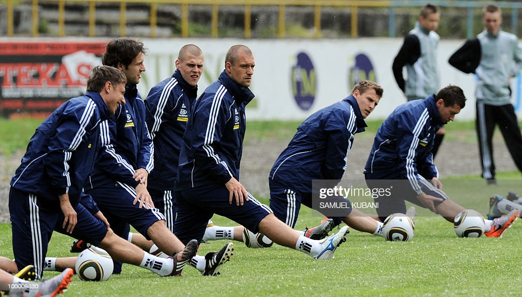 Players of the Slovakian national football team attend a training session on May 20, 2010, at their training camp in Piestany, prior to the FIFA World cup 2010 held in South Africa.