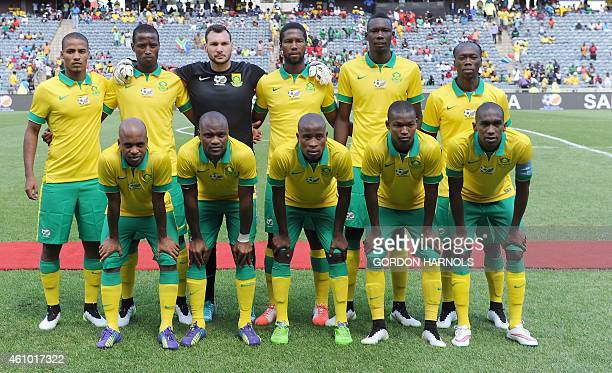 Players of the South African national football team pose for a photograph ahead of the friendly football match between Zambia and South Africa at the...