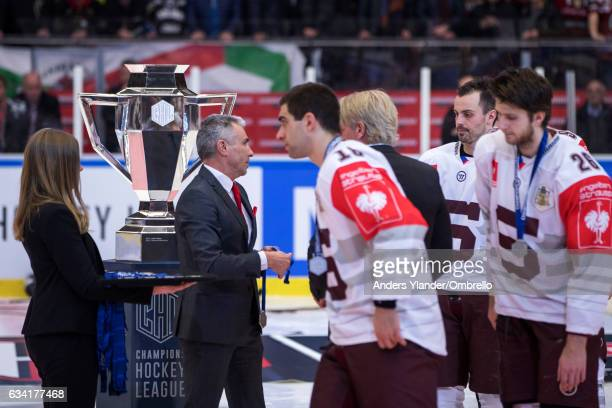 Players of the Sparta Prague receive their silvermedal after the Champions Hockey League Final between Frolunda Gothenburg and Sparta Prague at...