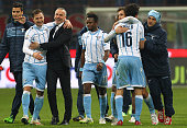 Players of the SS Lazio celebrate a victory at the end of the TIM Cup match between AC Milan and SS Lazio at Stadio Giuseppe Meazza on January 27...