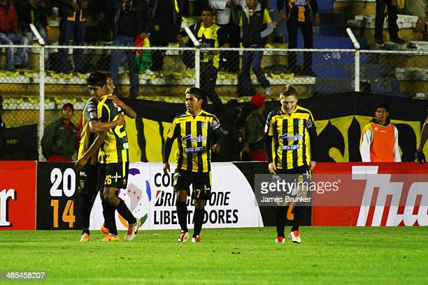 Players of The Strongest celebrate a scored goal during a match between The Strongest and Defensor Sporting as part of the Copa Bridgestone...