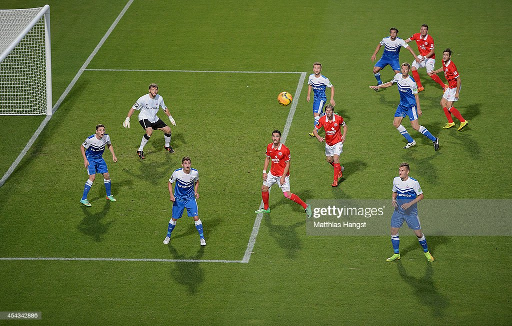 Players of the teams wait for a free kick ball during the Third league match between 1. FSV Mainz 05 II and Hansa Rostock at Bruchweg Stadium on August 29, 2014 in Mainz, Germany.