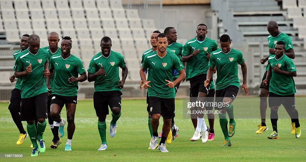 Players of the Togo's football national team take part in a training session in Moruleng on January 20, 2013 at Moruleng Stadium. Togo will play their first Group D 2013 Africa Cup of Nations match against Ivory Coast on January 21, 2013.