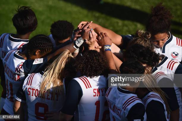 Players of the USA huddle during the HSBC World Rugby Women's Sevens Series 2016/17 Kitakyushu pool match between Canada and USA at Kitakyushu...