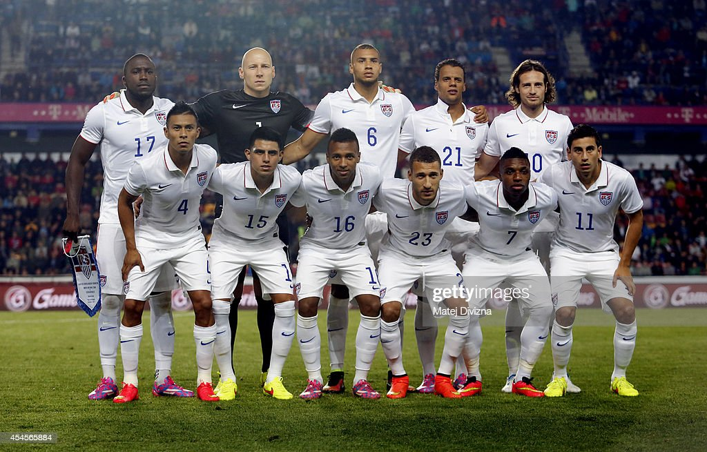 Players of the USA pose for photographers before the international friendly match between Czech Republic and USA on September 3 2014 in Prague Czech...