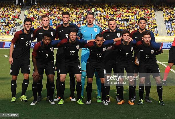 Players of the USA pose for pictures before the start of their Rio 2016 Olympic qualifier football match against Colombia at the El Metropolitano...