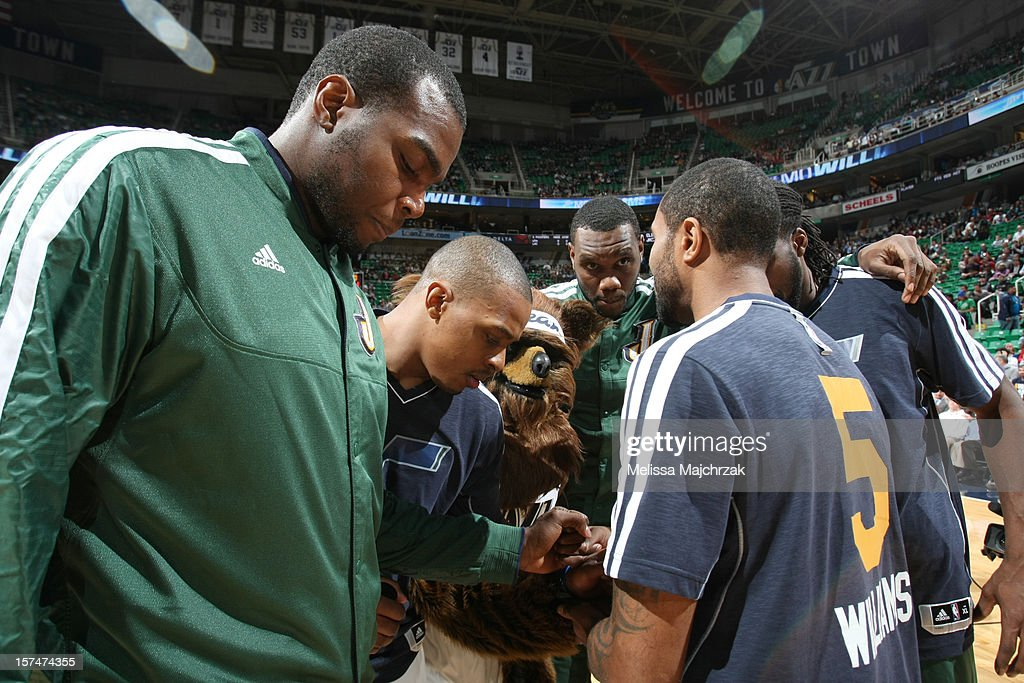 Players of the Utah Jazz meet before their game against the Los Angeles Clippers at Energy Solutions Arena on December 03, 2012 in Salt Lake City, Utah.