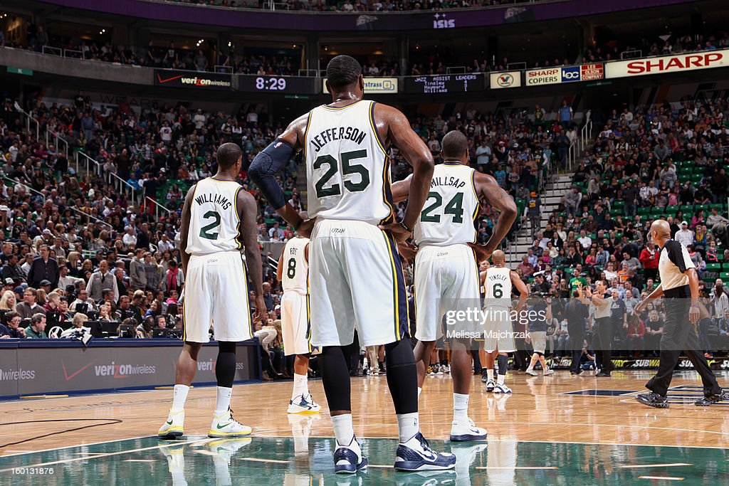Players of the Utah Jazz wait for play against the Indiana Pacers to startup again at Energy Solutions Arena on January 26, 2013 in Salt Lake City, Utah.
