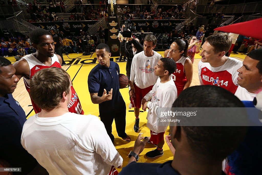 Players of the West Team huddle during the NBA Cares Special Olympics Unified Sports Basketball Game at Sprint Arena during the 2014 NBA All-Star Jam Session at the Ernest N. Morial Convention Center on February 16, 2014 in New Orleans, Louisiana.