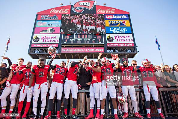 Players of the WKU Hilltoppers celebrate with their fans after a game against the Southern Miss Golden Eagle at HouchensSmith Stadium on December 5...