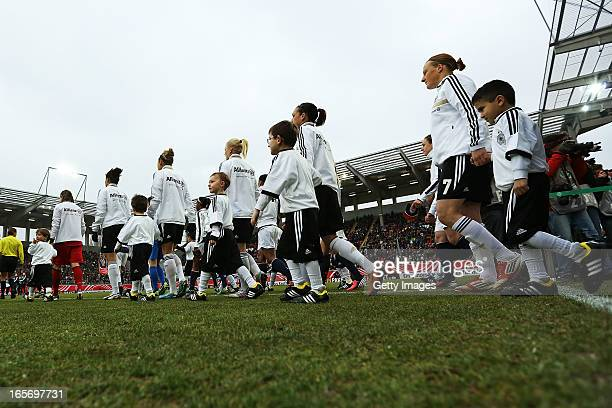Players of the women's national team of Germany walk on the pitch prior to the Women's International Friendly match between Germany and the United...