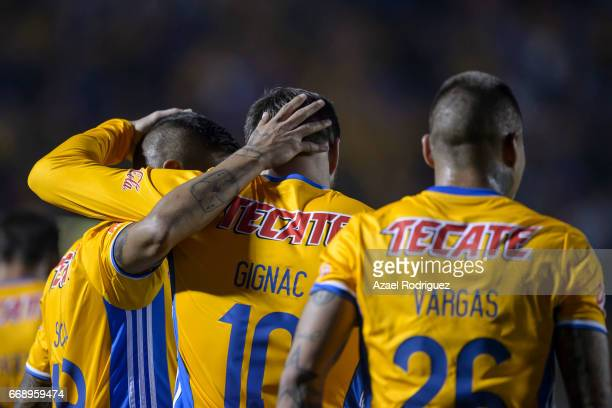 Players of Tigres celebrate after Jurgen Damm scored his team's second goal during the 14th round match between Tigres UANL and Pumas UNAM as part of...