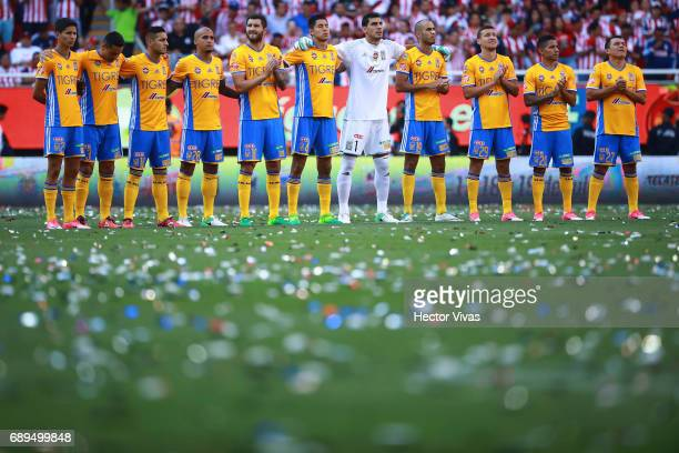 Players of Tigres line up prior the Final second leg match between Chivas and Tigres UANL as part of the Torneo Clausura 2017 Liga MX at Chivas...