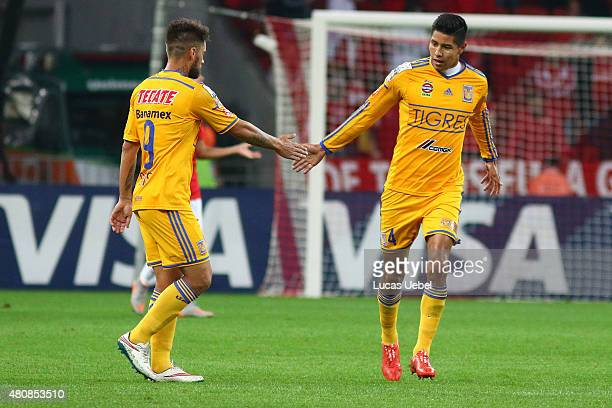 Players of Tigres their first goal scored by Hugo Ayala during the match between Internacional v Tigres as part of Copa Bridgestone Libertadores 2015...