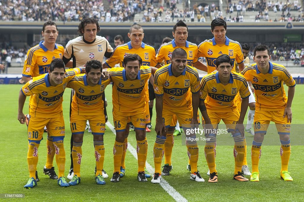 Players of Tigres UNL pose for a picture prior to a match between Pumas and Tigres as part of Apertura 2013 of Liga MX at Olympic stadium on August 04, 2013 in Mexico City, Mexico.