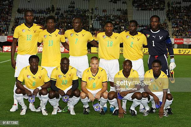Players of Togo pose for photographs during the Kirin Challenge Cup 2009 match between Japan and Togo at Miyagi Stadium on October 14 2009 in Rifu...