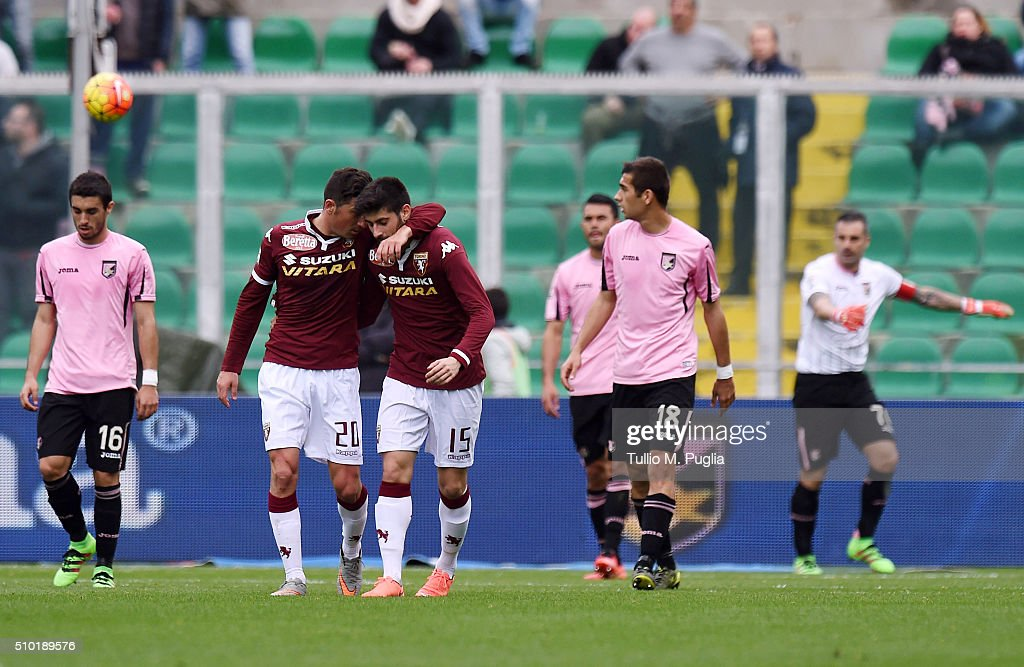 Players of Torino celebrate after Gonzalez's selfgoal (1-2) during the Serie A match between US Citta di Palermo and Torino FC at Stadio Renzo Barbera on February 14, 2016 in Palermo, Italy.