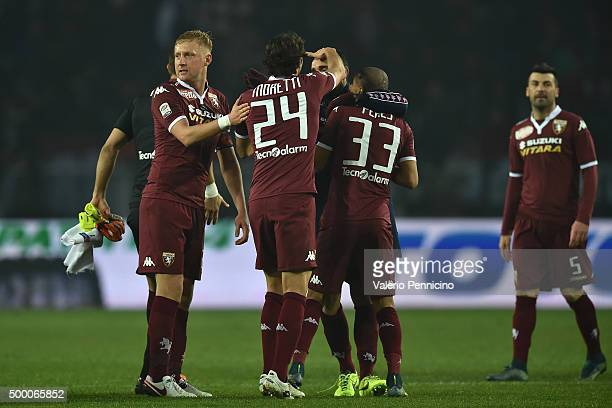 Players of Torino FC celebrate a draw at the end of the Serie A match between Torino FC and AS Roma at Stadio Olimpico di Torino on December 5 2015...