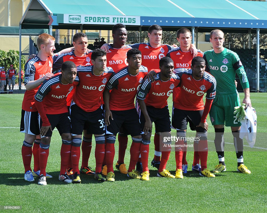 Players of Toronto FC pose for a photo before play against the Columbus Crew February 9, 2013 in the first round of the Disney Pro Soccer Classic in Orlando, Florida. Columbus won 1 - 0.