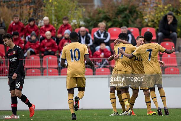 Players of Tottenham celebrate after scoring a goal to make it 01 during the UEFA Youth Champions League match between Bayer Leverkusen and Tottenham...