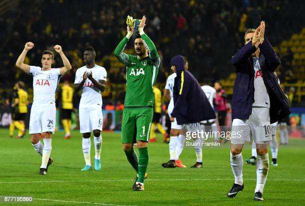 Players of Tottenham Hotspur shows appreciation to the fans after the UEFA Champions League group H match between Borussia Dortmund and Tottenham...