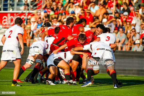 Players of Toulon and Lyon during the preseason match between Rc Toulon and Lyon OU at Felix Mayol Stadium on August 17 2017 in Toulon France