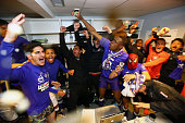 Players of Toulouse celebrate after the football french Ligue 1 match between Angers SCO and Toulouse FC on May 14 2016 in Angers France