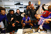 Players of Toulouse celebrate in the cloakroom after the football french Ligue 1 match between Angers SCO and Toulouse FC on May 14 2016 in Angers...