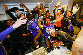 Players of Toulouse with Adrien Regattin of Toulouse celebrate after the football french Ligue 1 match between Angers SCO and Toulouse FC on May 14...