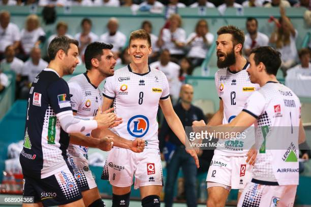 Players of Tours jubilate as they win the third set during the Final Cup CEV match between Tours and Trente on April 15 2017 in Tours France