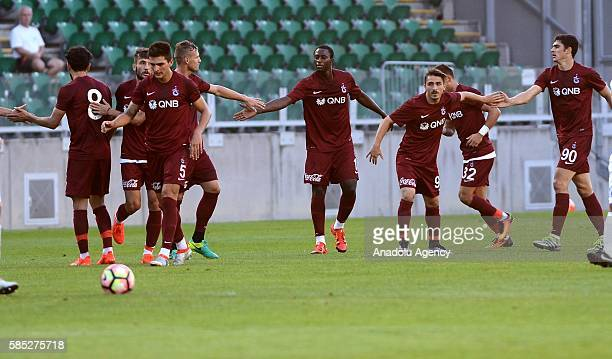 Players of Trabzonspor celebrate a score during the friendly match between Trabzonspor and MTK Budapest FC in Budapest Hungary on August 02 2016