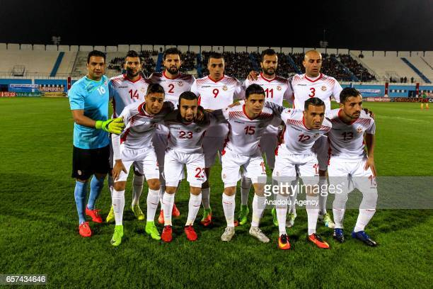 Players of Tunisia pose for a photo ahead of the friendly football match between Tunisia and Cameroon at the Ben Jannet stadium in Monastir Tunisia...
