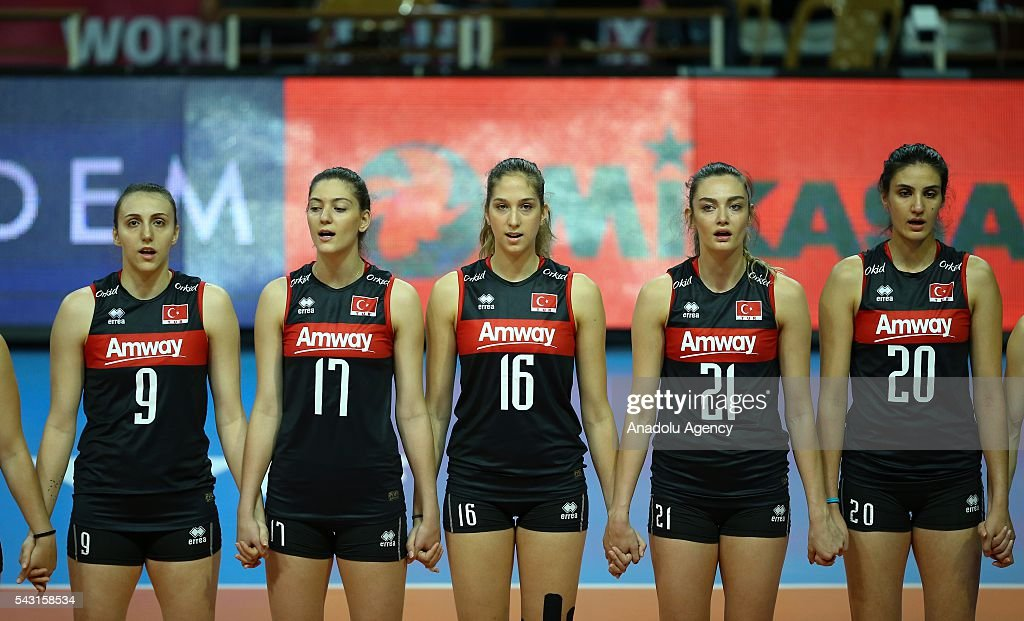 Players of Turkey are seen ahead of 2016 FIVB Volleyball World Grand Prix Women's match between Turkey and Brazil at the TVF Baskent Sports Hall in Ankara, Turkey on June 26, 2016.